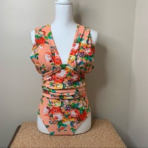 Peach Floral One Piece Swimsuit